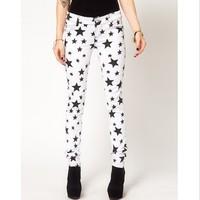 Free shipping 2014  white and black star high-elastic women casual pants denim design slim pencil jeans pants L401
