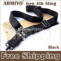 Armiyo Gen 4th Nylon Belt Elastic 1.25-Inch Loop Snap Hook Quick Detach Multi Mission Hunting Binoculars Ring QD Sling Black