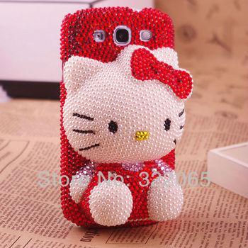 For Samsung galaxy s3 i9300 girl luxury Cute Hello Kitty rhinestone diamond bling bling protector phone case,Free Shipping