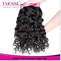 Grade 4A Virgin Peruvian Hair,3Pcs/lot Italian Curly Human Hair Extension,12-28 Inches Aliexpress Yvonne Hair,Color 1B