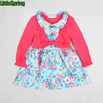 LittleSpring Retail In Stock! Girls Dresses Kid flower spring autumn long sleeve dress children one-piece girl dress