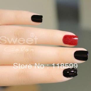 Sweet Color Hot Offer Sparkling Diamond Nail Polish Combo--Red and Black in Set