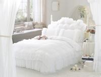 Luxury Snow White lace bedspread princess bedding sets queen king size 4pcs comforter/duvet cover bed skirt bedclothes cotton
