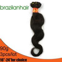 "HOT SALE  Brazilian Hair Free Shipping,16-24""can choice Hair Extension,human hair,Wavy hair,about 3.2oz/lot"