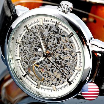 HK Post  Hot! Mens Face Manual wind Luxury Wrist Watch Skeleton men's Mechanical watch Free Shipping