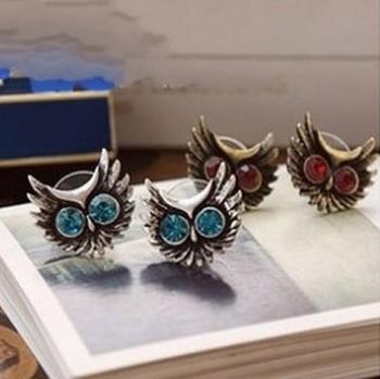 LZ Ювелирные Hut E218 E2192014 Бесплатная доставка Оптовая Ретро Хрустальная сова женщин Серьги