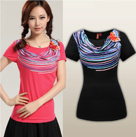 New arrival ! 2014 New fashion Embroidery colorful striped women's short sleeve T-shirts Size S-XL K0055