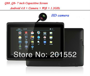 Wholesale free shipping MID - Cheap Tablet PC  Q88 ,Q8- 7 inch Capacitive Screen + Android 4.0 + Camera + Wifi + 1.2GHz