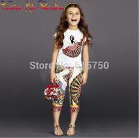 Hot Sale 2014 Italy designer children t shirts, 100% cotton fashion girls t shirt, new summer brand kids t-shirts girl, 3-12Y