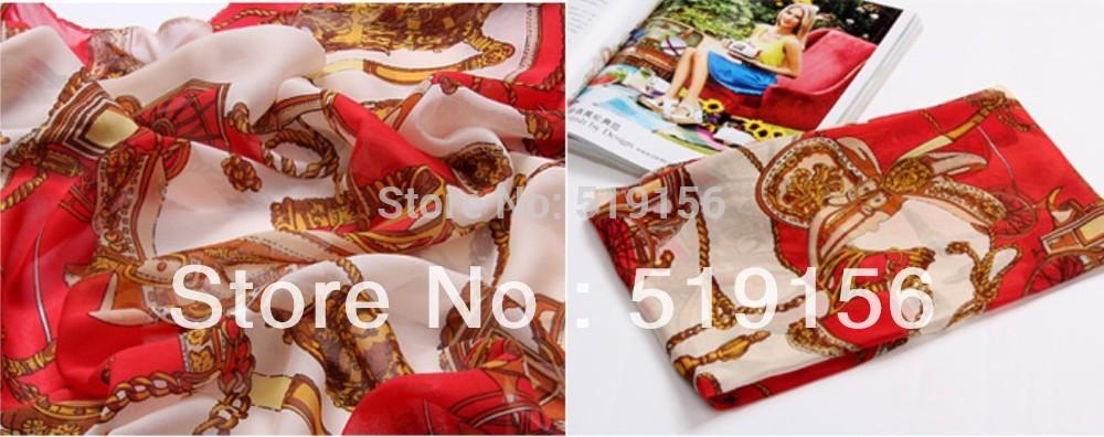 Wholesale 2014 summer femal red windmill  silk chiffon long design silk scarf,fashion scarf