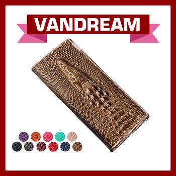 2015 vandream Genuine Leather women wallets, with Crocodile head ,Cow Leather Wallet,Fashion Women Purse,10 color LW-94