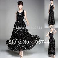 Factory low price 2014 new arrive lady black chiffon dress free with belt,high quality long dress plus size S,M,L,XL