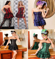 Free EMS dresses new fashion 2013 Boned corset bustier tutu skirt top piece set lace shaper small vest