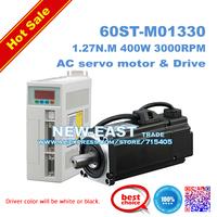 Free shipping  hot sale Servo motor set  1.27N.M 400W 220V 60ST AC Servo Motor 60ST-M01330 + Matched Servo Driver