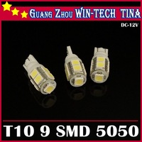 Free shipping 10pcs T10 9 SMD 5050 12V 194 168 car Auto bulb led brake light led car light led