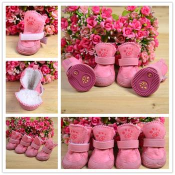 2014 High Quality 4Pcs/Set Free Shipping Pet Dog Cat Cotton Shoes Spring Autumn Winter Boot Pet Bottes 3 Colors 5 Sizes