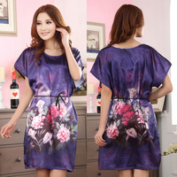 Free Shipping! 2013 New Arrival Hot Sale Fashion Home Apparel Ladies's Silk Nightgown,New Style Brand Purple Nightgown Printed