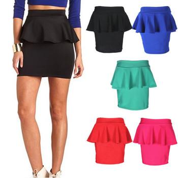 8 цветов новый 2015 весна лето женская одежда высокой упругой сексуальная раффлед плиссированные юбка карандаш баски юбка для женщин девушка 97302