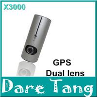 Free shipping 2014 NEW X3000 Full HD 960P Dual Lens  GPS car camera 140 G-sensor IR LED Night Vision Car DVR