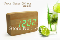 Creative retro LED wooden modern alarm clock multiple sets alarm clocks electronic bell desk clock led clock