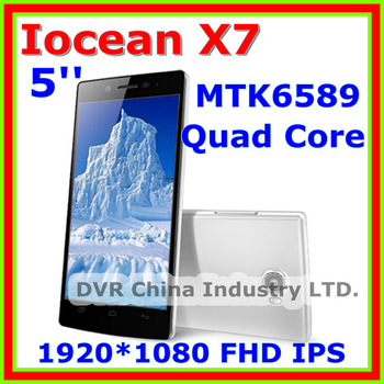 In Stock! Smartphone Iocean X7 2GB RAM + 32GB ROM 5'' 1920*1080 FHD IPS  MTK6589 Quad Core 1.2Ghz Android 4.2  HK Free Shipping