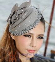 Free Shipping Women Fashion Fascinator Hat Hair Accessories Hairband Hair Clips Wool Felt  Fascinator Hat Bridal Accessories