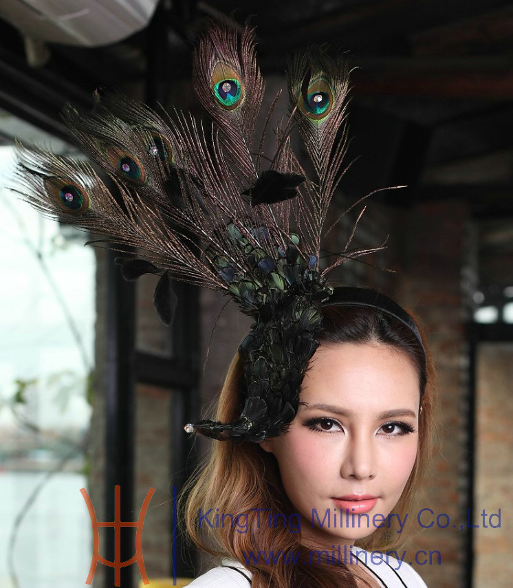 Women Natural Peacock Feather Fascinator Hat Hair Accessories Hairwear Hairband Bows with Clips Hair Fascinators(China (Mainland))