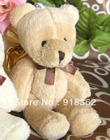 Cute!Upgrade!Free Shipping(50pcs/Lot)More Bigger!Good Quality,Western Style,Soft Plush Bear+Shining Gold Bag,2C Can Mix Per Lot