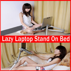 HOT SELLING Foldable portable laptop cooling stand Adjustable folding pad desk Notebook table Computer holder use on bed(China (Mainland))