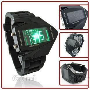 Led Fighter Bomber Flashlight LED+12/24Hrs Military Force Casual Unisex Sport Eletronic Digital Calendar Cuff Wrist Watch