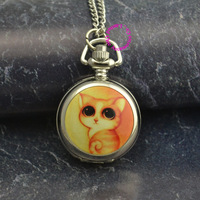 silver mirror cute colorful cute yellow cat chain pocket watch necklace wholesale buyer low price good quality lady girl women