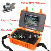 "Freeshipping Silver Color Underwater HD SONY CCD Camera 7""LCD screen /CCTV camera/Underwater Inspection System With 20M cable"
