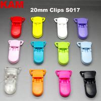 50pcs 10 Colors For Options  KAM Plastic Clip Plastic Pacifier Clip Transparent Soother Clip For Baby Mix Colors S017 20mm