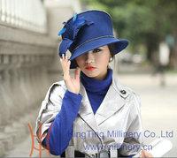 Free Shipping Women Dress Fashion Wool Felt Hat Winter Hat Fedoras Winter Bucket Hat Diamond Casing Feather