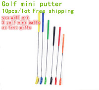Free Shipping  Wholesale 2014 Hot Selling 10pcs Colorful Mini Golf Rubber Putter with Stainless Steel Original Golf Putters