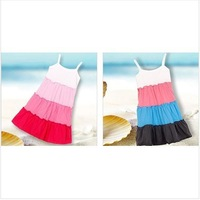 1pcs Baby Girl Summer Beach Dress Kids Slips Chemises Lovely Pink Blue Dresses For 2-5yrs Cotton New Fashoin Children Clothes