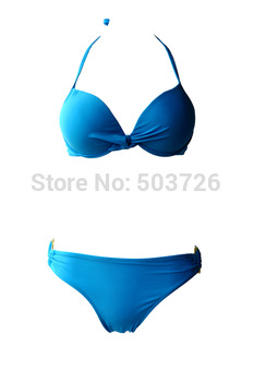 New Arrival! Hot Sale Blue Sexy Swimwear Women Top Push-up With Underwire Strap Bikini Set New Bathing Suit S M L Size