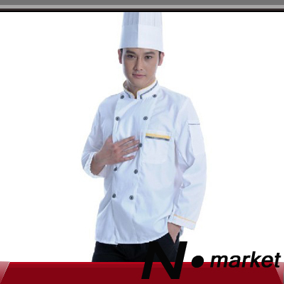 2014 Free Shipping Resturant White Kitchen Cotton Cooking Clothes Jackets Long Sleeve Stand Collar Chef Uniforms For Women Men(China (Mainland))