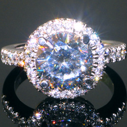 Luxury quality 3 carat round brilliant cut NSCD diamond halo engagement rings for women,3 carat sona engagement rings,big rings(China (Mainland))