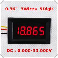 "DC 0-33V  0.36"" Digital Voltmeter three Wires 5 Digit  voltage Panel meter LED Display  Color : Red [ 4 pieces / lot]"