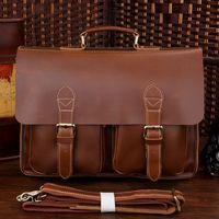Hot Sale!Business Vintage Genuine Leather Men Briefcase Natural Cowhide Laptop Bag Men Handbag Shoulder bag men messenger bag