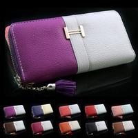 Fashion Lady Wallet Women Fringe Purse Wrist Clutch Zipper PU leather Card Slot  Evening Party Bag
