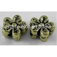 Tibetan Style Beads,  Antique Bronze Color,  Zinc Alloy Beads,  Lead Free & Nickel Free & Cadmium Free,  Flower
