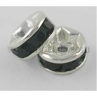 Stock Deals Brass Rhinestone Beads,  Grade A,  Black,  Silver Metal Color,  Nickel Free,  Size: about 6mm in diameter