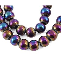"Glass Beads Strands,  Round,  Black,  AB Color Plated,  The beads about 4mm in diameter,  hole: 1mm,  about 13""/strand"