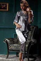 2013Hot selling women lace sleepwear / top quality long sleeve 100% silk pajamas/ free shipping