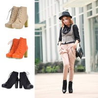 new 2013 winter Ankle  boot for woman color block thick scrub japanned leather black casual lacing martin boots puls size 801