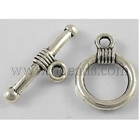 Stock Deals Tibetan Silver Toggle Clasps,  Lead Free & Cadmium Free & Nickel Free,  Round,  Antique Silver