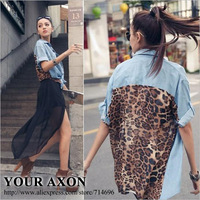 1247 Free Shipping New 2014 Plus Large Size Blusas Femininas Leopard Jeans Color Chiffon Tops Shirts for women 2014 a+ blouse