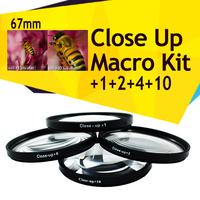 67mm Macro Close Up Lens Filter kit +1 + 2 +4 +10 for Nikon D80 D90 D7000 18-105mm lens Free Shipping